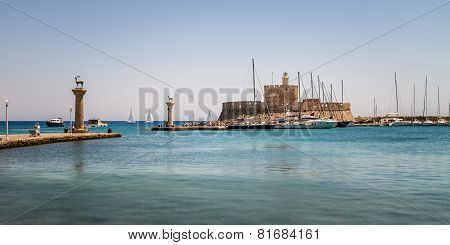 Panorama Of Mandraki, The Oldest Harbor Of Rhodes Island