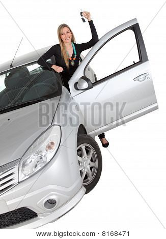 Happy Woman With A Car