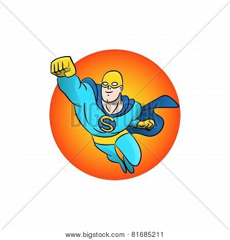 Superhero flying logo. Vector illustration