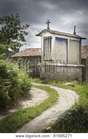 raised granary in an ancient village of Galicia - Spain
