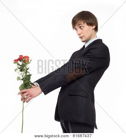young man with flowers