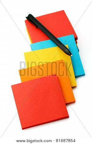 Stickers And Pencils Isolated On A White Background