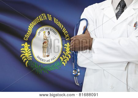Concept Of National Healthcare System - Kentucky flag on background