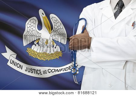 Concept Of National Healthcare System - Louisiana flag on background