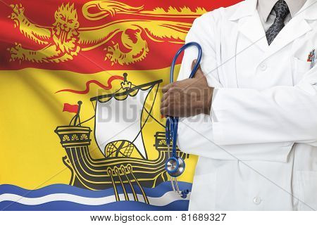 Concept Of Canadian Healthcare System - New Brunswick province flag on background