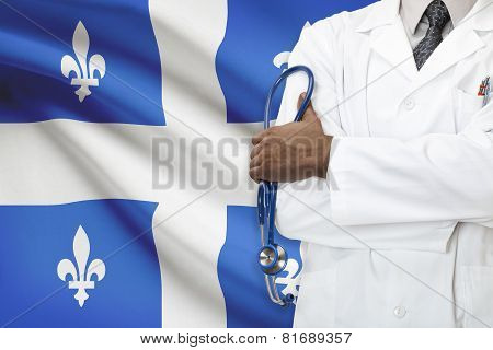 Concept Of Canadian Healthcare System - Quebec province flag on background