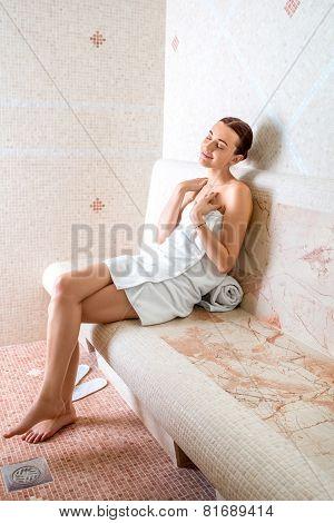Woman in Roman sauna