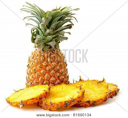 Pineapple and slices isolated
