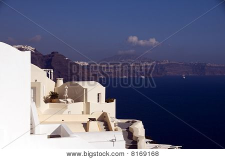 House Over Mediterranean Sea Caldera Santorini Greece