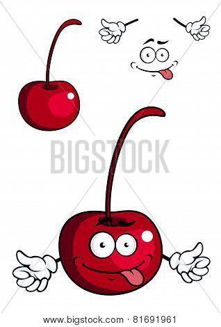 Cute cartoon cherry fruit giving a thumbs up