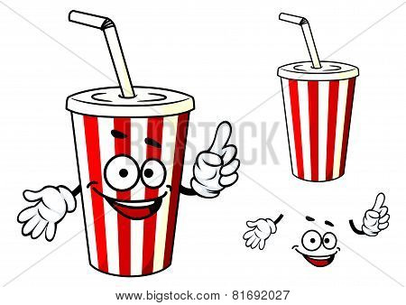 Stripe soda or juice  cup with happy face and hands