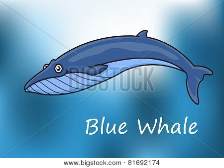 Cartoon blue whale swimming underwater