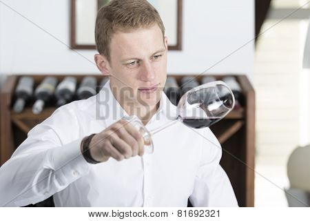 Man Analyzing A Red Wine Glass.