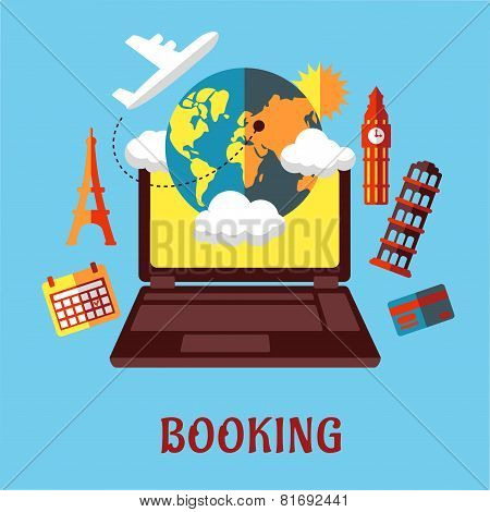 Online travel and booking flat concept