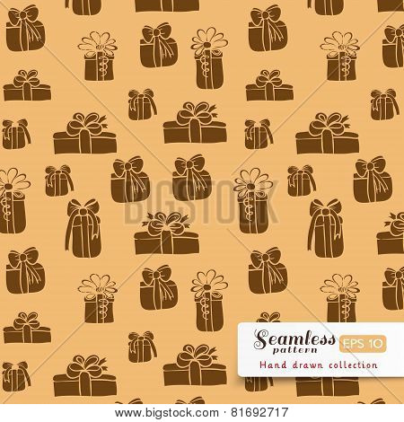 Brown gifts seamless pattern on beige background