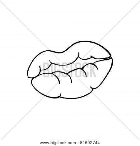lips imprint sketch