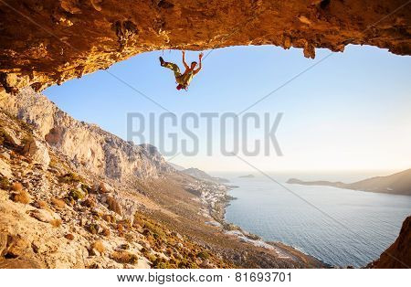 Male climber has just fell of a cliff