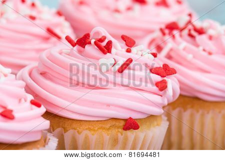 Closeup Of Pink Valentines Day Cupcakes With Sprinkles