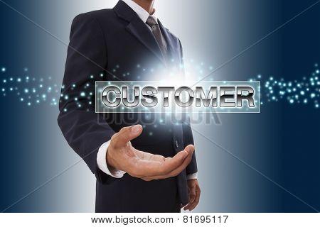 Businessman hand showing customer button
