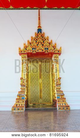 Beautiful Decorated Door Of Thailand Temple