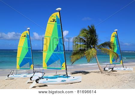 Hobie Cat catamaran ready for tourists at Bavaro Beach in Punta Cana