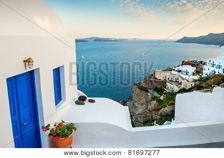 White Architecture In Oia Village. Santorini Island, Greece