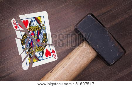Hammer With A Broken Card, Queen Of Hearts