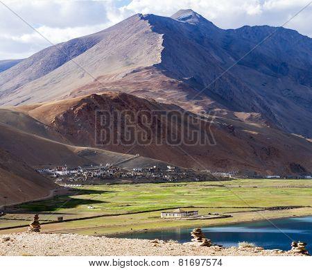 Panorama Of The Korzok Monastery And Village With Himalayan Mountains And Tso Moriri Lake