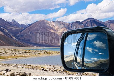 In The Car To The Himalayan Pangong Tso Lake With Rear View Reflection