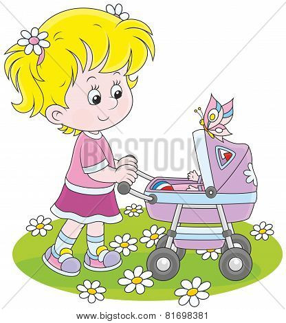 Girl with a toy baby buggy