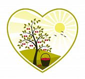 image of farm animals  - vector cherry tree and basket of cherries in heart on white background - JPG