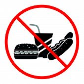 pic of banned  - the illustration with a ban for junk food  - JPG