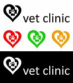 picture of veterinary clinic  - different versions of the logo of the veterinary clinic  - JPG