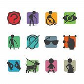 image of disabled person  - Vector colorful icon set of access signs for physically disabled people like blind deaf mute and wheelchair - JPG