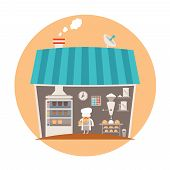 stock photo of bakeshop  - Bakery or bakeshop vector concept in cartoon style - JPG