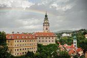 stock photo of bohemia  - Beautiful historical town Cesky Krumlov in South Bohemia - JPG