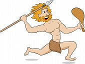 stock photo of mace  - vector illustration of a caveman hunting with spear and mace - JPG
