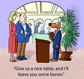 foto of patron  - Cartoon of restaurant patrons saying to dog maitre - JPG