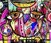 picture of interior sketch  - original abstract digital painting artwork of doodle owl - JPG