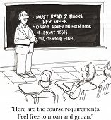 pic of moaning  - Cartoon of teacher with challenging requirements for the semester - JPG