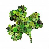 foto of shamrock  - St Patricks Day shamrock of green buttons over a white background - JPG