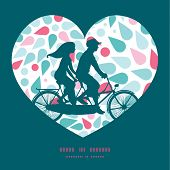 picture of tandem bicycle  - Vector abstract colorful drops couple on tandem bicycle heart silhouette frame pattern greeting card template graphic design - JPG