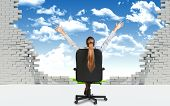 stock photo of lawn chair  - Businesswoman sitting on the office chair with her hands outstretched - JPG