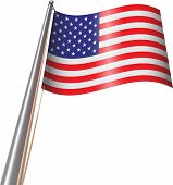 pic of flag pole  - Looking up to a United States Flag on a Pole - JPG