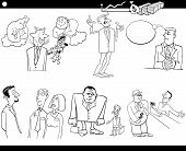 picture of clip-art staff  - Black and White Cartoon Illustration Set of Funny Businessmen and Business Concepts and Metaphors - JPG