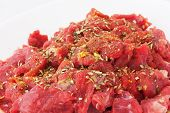 stock photo of veal meat  - Pieces of Raw Veal Meat with Spice - JPG