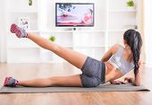pic of stretch  - Fitness workout healthy living and diet concept - JPG