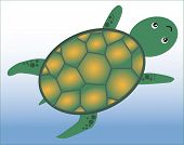 foto of green turtle  - a blue background with a happy green turtle - JPG