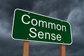 stock photo of common  - Common Sense Sign Green highway sign with words Common Sense with stormy sky background - JPG