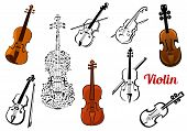 pic of string instrument  - Set of vector violin music instruments in color or black and white some with a bow and one composed of music notes - JPG